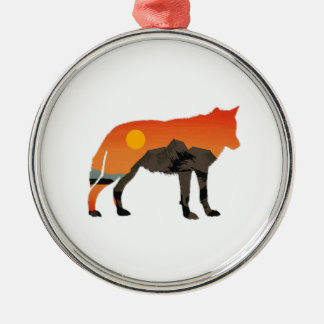 Foxy Sunset Silver-Colored Round Decoration