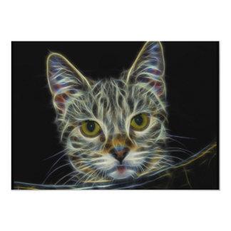 "fractal-681584 CAT DIGITAL FLAMES ART BACKGROUND W 5"" X 7"" Invitation Card"