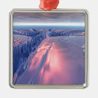 Fractal Glacier Landscape Christmas Ornament