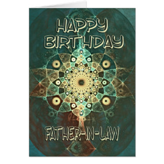 Fractal grunge birthday card for a Father-in-Law