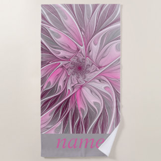 Fractal Pink Flower Dream, Floral Fantasy, Name Beach Towel