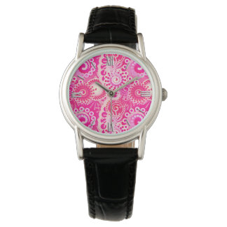 Fractal swirl pattern, shades of fuchsia pink watch