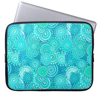 Fractal swirl pattern, shades of ocean blue laptop sleeve