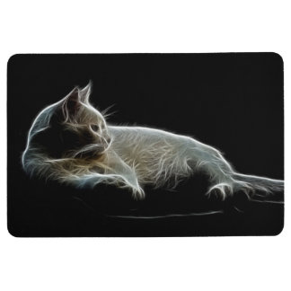 Fractalised image of a white cat floor mat