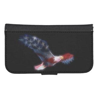 Fractalized Bald Eagle American Flag Samsung S4 Wallet Case