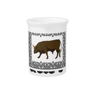 framed brown bull pitcher