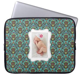 Framed custom photo on teal damask background laptop sleeve