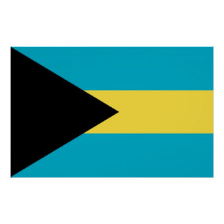 Framed print with Flag of Bahamas