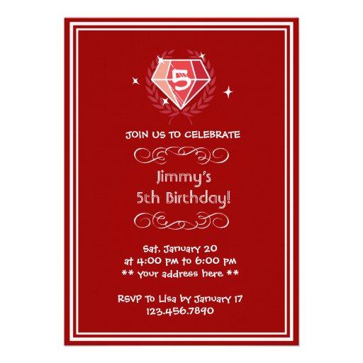Framed Sparkle Ruby Gems Birthday Party Invitation