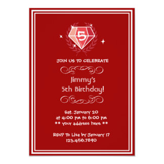 Framed Sparkle Ruby Gems Birthday Party Invitation