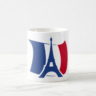 France flag with Eiffel Tower blue, red, white Coffee Mug