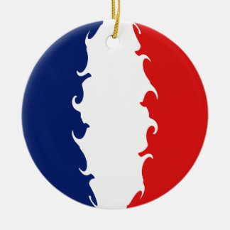 France Gnarly Flag Double-Sided Ceramic Round Christmas Ornament