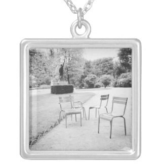 FRANCE, Paris: Luxembourg Gardens Statue of Silver Plated Necklace