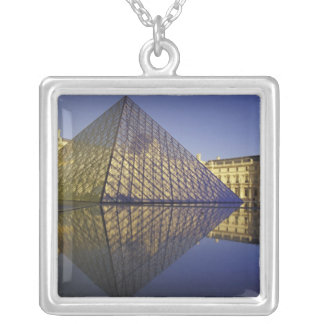 FRANCE, Paris Reflection, Pyramid. The Louvre Silver Plated Necklace