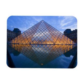 France, Paris. The Louvre at twilight. Credit Rectangular Photo Magnet