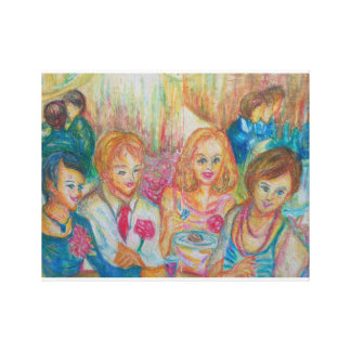 France - scenery of family - after the party stretched canvas print