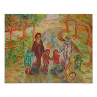 France - scenery of family - walking road poster