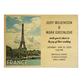 France Wedding Invitation Paris Eiffel Tower