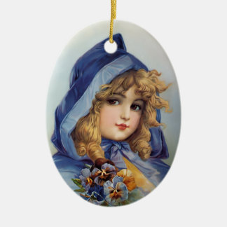 Francis Brundage Girl in Blue Hood Christmas Ornament