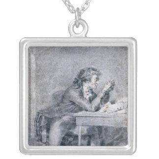 Francois Buzot  contemplating a portrait Silver Plated Necklace