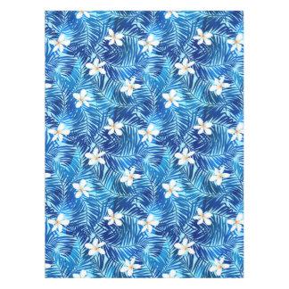 Frangipani and blue palm leaf tablecloth