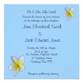 Frangipani Blue Beach Wedding Custom Invitations