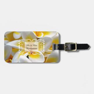 Frangipani flower honeymoon luggage tag