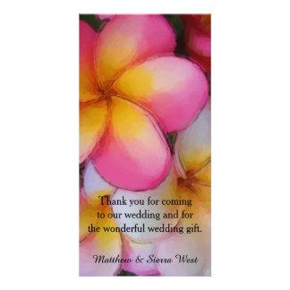 Frangipani Plumeria Flowers Wedding Thank You Photo Cards
