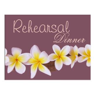 Frangipani Wedding Rehearsal  Dinner Invitation Postcard