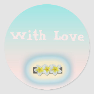 Frangipani  with love wedding envelope seal