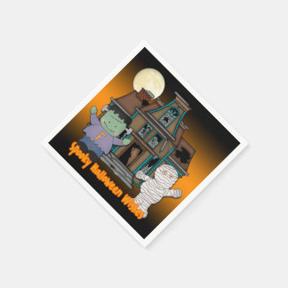 Frankenstein and Mummy Halloween Paper Napkins