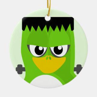 Frankenstein Penguin Round Ceramic Decoration