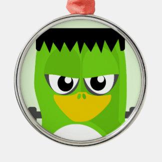 Frankenstein Penguin Silver-Colored Round Decoration