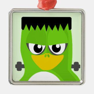 Frankenstein Penguin Silver-Colored Square Decoration