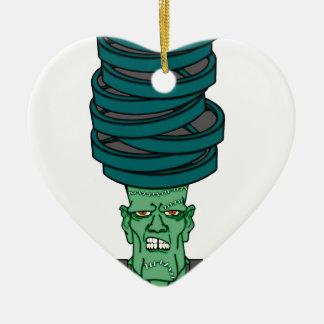 Frankenstein under weights ceramic heart decoration