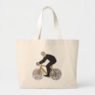 Franklin D Roosevelt Riding Bike With Dime Wheels Large Tote Bag