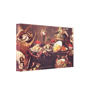 Frans Snyders - Still Life with lady and parrot Gallery Wrap Canvas