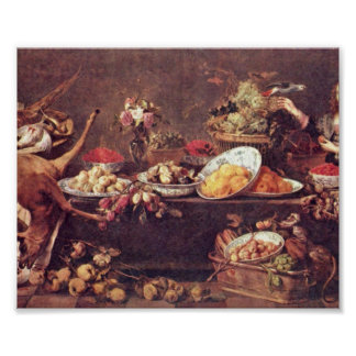 Frans Snyders - Still Life with lady and parrot Poster