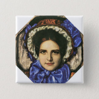 Franz von Stuck - Daughter Mary 15 Cm Square Badge