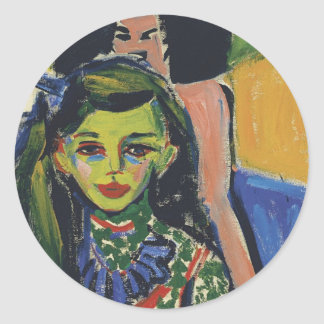 Fränzi in front of Carved Chair by Ernst Kirchner Classic Round Sticker