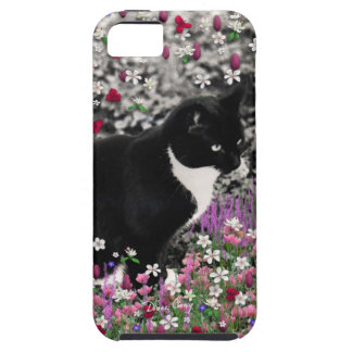 Freckles in Flowers II - Black and White Tux Cat iPhone 5 Case