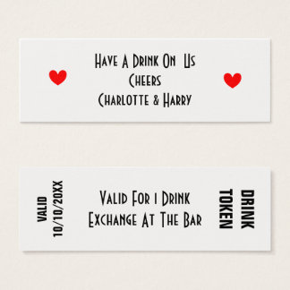 Free Drinks Token Personallized Mini Business Card