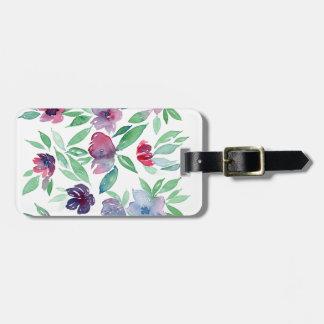Free Floral - Blue, Purple, Green Vines Greenery Luggage Tag