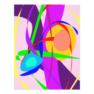 Free Forms and Lines Pink Purple Abstract Painting Flyer Design