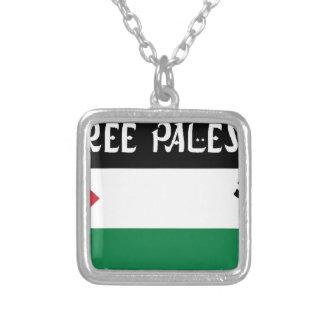 Free Palestine - فلسطين علم  - Palestinian Flag Silver Plated Necklace