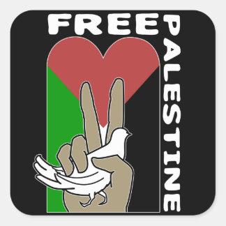 Free Palestine Dove Heart Peace Sign Square Sticker