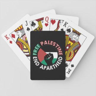 Free Palestine End Apartheid Flag Fist Black Playing Cards
