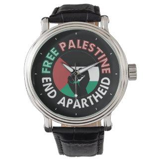 Free Palestine End Apartheid Flag Fist Black Wristwatch