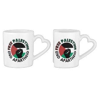 Free Palestine End Apartheid Palestine Flag Coffee Mug Set