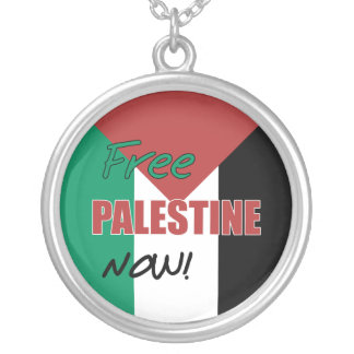 Free Palestine Now Palestinian Flag Silver Plated Necklace